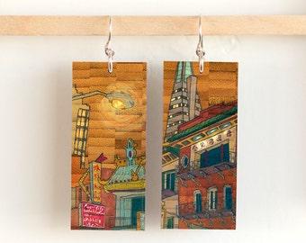 "Pearl City, Paper & Wood Earrings, 1x2.25"""