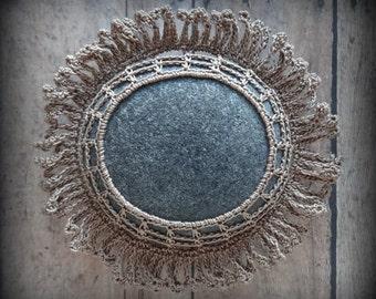Crocheted Lace Stone, Fringe, Handmade, Original, Mocha Brown, Gray, Sparkle, Table Decoration, Monicaj