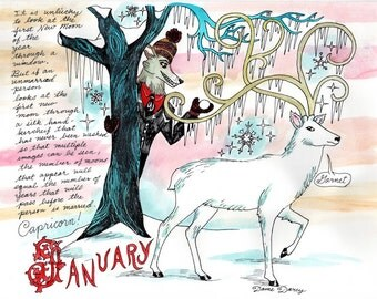 Dame Darcy, Meat Cake , original art, hand drawn, comix, comics, manga, print, zine, 2017 witchcraft calendar, page art, January