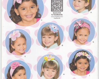 Simplicity 1820 Girls Headbands Fasinators Hair Accessories Bows Flowers 12 Styles Sewing Pattern