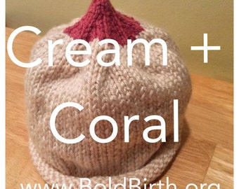 Boobie Beanie READY TO SHIP - Cream + Coral