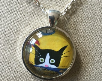 Tuxedo Cat Necklace -  Cat Jewelry - Silent Mylo Tuxedo Cat Necklace - Cat with Lobster- Funny Cat Art - Gift for Cat Lover