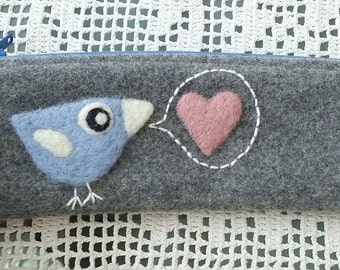 Zippered pouch pen case pencil case blue with a needle felted green birdie bird and loveletter