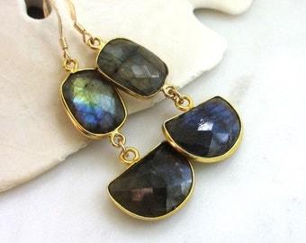 Long Labradorite Earrings, Grey Gemstone Earrings, Natural Labradorite Slice Earrings, Gemstone Dangle Earrings, Long Gold Earrings,  Jeri
