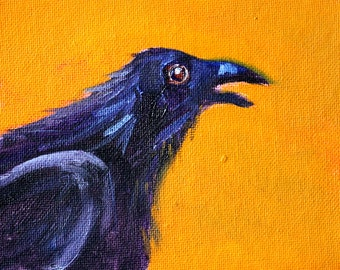 Blue Raven, Bird Portrait, Small Animal Oil Painting, Original 4x5 Canvas, Tiny Creature, Minimalist Nature Wall Decor, Orange, Black