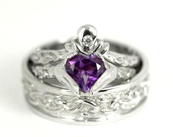 Claddagh Wedding Set, Sample Sale, 3 Ring Wedding Engagement Ring Set, 10kt Mens size 10, Womens size 6, Genuine Amethyst, Diamond Crown