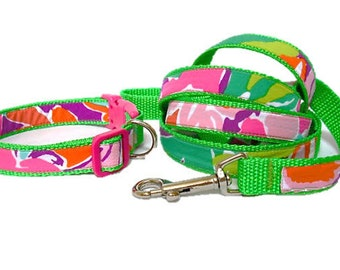 Dog Collar and Leash Set Made from Lilly Pulitzer Lulu Fabric on Green Size: Your Choice