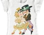 Tango T shirt, Flamenco Dance Top, Spanish Couple Tee, Childrens Dancing Cuties T-shirt, Cap Sleeve Shirt, Ballroom Kids, 2, 4, 6, 8, 10, 12