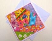Greeting Card - Original Textile Artwork - Crazy Patchwork