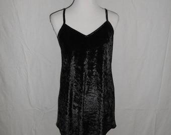 SALE Women's Vintage clothing clothes 90's  crushed velvet short slip dress   black