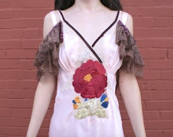 Pale Pink 1930s Upcycleed slip dress with open shoulder pom pom lace embellishment and large edwardian flower