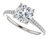 evangeline ring – 1.5 carat forever one moissanite engagement ring, 14k white gold