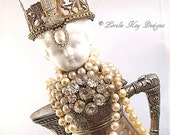Shabby Silver Teapot Art Doll Queen Rhinestone & Pearls Assemblage Art Doll  One-of-a-kind Mixed Media Sculpture