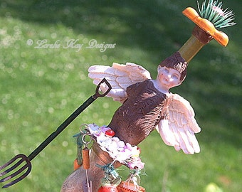 Gardening Angel Art Doll Primitive Angel Sculpture Frozen Shabby Decor Found Object  Angel Art Doll