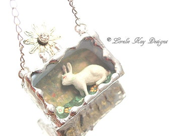 Tiny Bunny Necklace Miniature Bunny Rabbit Soldered Box Mixed Media One-of-a-Kind Diorama Pendant