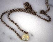 Swarovski crystal 12mm sand opal fancy square  pendant necklace antique brass plated,pretty light brown single stone necklace,elegant