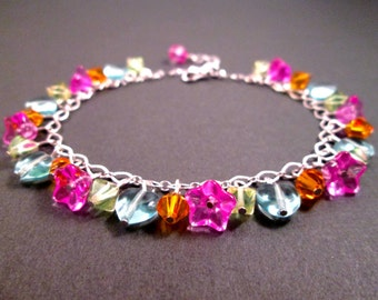 Silver Beaded Bracelet, Colorful Glass, Flowers and Hearts Charm Bracelet, FREE Shipping U.S.