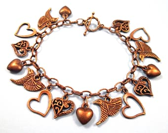 Hummingbird Charm Bracelet, I Heart Birds, Brass Beaded Bracelet, FREE Shipping U.S.