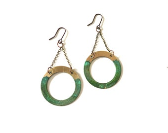 Patina and Brass Earrings