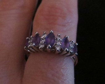 50% Off SALE Vintage Sterling Silver Purple Amethyst CZ Stones Ring Size 7