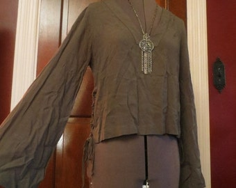 50% Off SALE Army Green Bell Sleeves Top Bohemian Gypsy Peasant Blouse Small