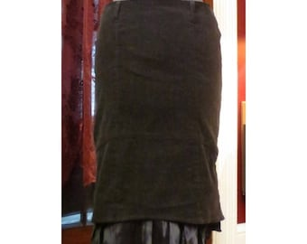 SALE Vintage PinUp Black Mermaid Fin Hem Hobble Skirt M/L