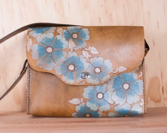 Leather Messenger Bag - Belle Pattern with wild roses in Turquoise and Antique Brown - Purse or Briefcase - Large