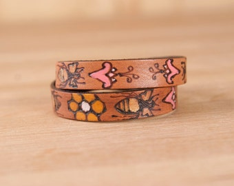Leather Wrap Bracelet for Women - Double wrap skinny cuff with bees and flowers in the Meadow pattern
