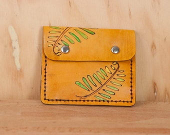 Front Pocket Wallet - Leather in the Rowan pattern with ferns in green and antique tan