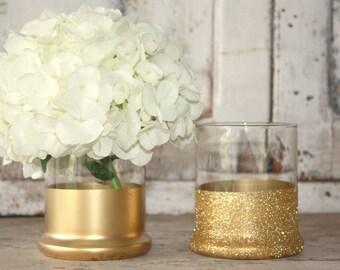 Gold vases, wedding decor, 12 gold dipped centerpiece vases, gold glitter vase, wedding table decor, rose gold metallic vase