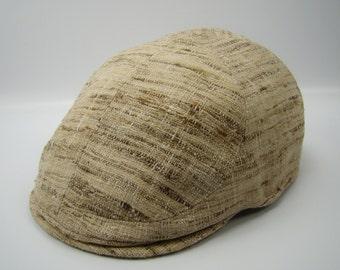 Custom 6-Panel Handmade Flat Cap Driving Cap for Men in Natural Silk Matka - Tan Brown Raw Silk