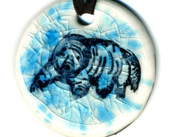 Tardigrade or Water Bear Ceramic Necklace in Blue Crackle
