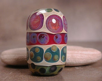 Lampwork Focal Bead Boro Glass Lines and Dots Series Divine Spark Designs SRA