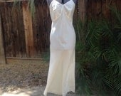 Vintage 40s antique off white taffeta slip dress ~ lingerie ~ old Hollywood ~ pin up