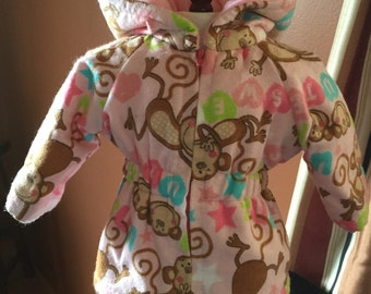 Sale -18 inch doll clothes fun MONKEY SEE MONKEY Do lined parka style jacket just for her.