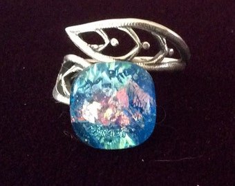 Adjustable Opal Style Dichroic Ring