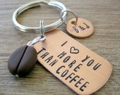 Love You More Than Coffee Keychain with coffee bean bead, coffee lovers gift, valentine's day gift, boyfriend gift, optional initial disc