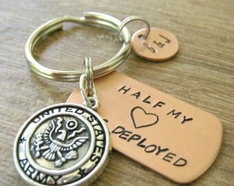 Army Keychain, Half My Heart is Deployed, army wife, army husband, deployment keychain, military charm, optional intiial disc