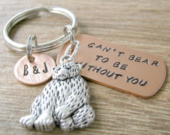 Teddy Bear Keychain, Can't Bear to Be Without You, optional initial disc, anniversary gift, boyfriend gift, valentine's day, gay couple