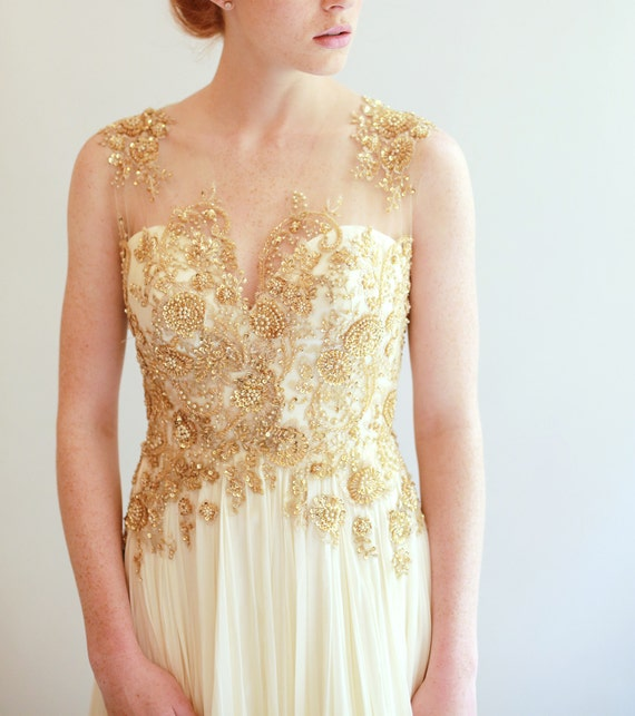 Sample Sale - gold beaded Lace and ivory silk Wedding Dress sample
