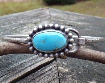 Blue Bird Turquoise Sterling Silver Bangle Bracelet