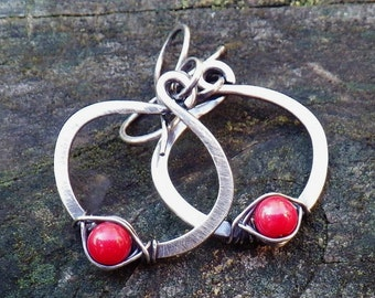 Red coral sterling silver hoop dangle earrings
