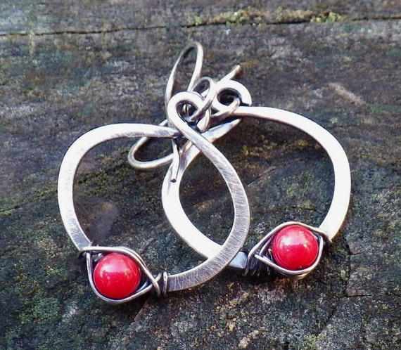 Red coral sterling silver hoop dangle earrings