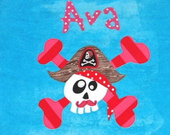 Personalized Large Turquoise Velour Beach Towel with Funny Pirate with Mustache and Crossbones, Pirate Towel, Kids Bath Towel, Baby