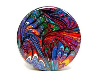 Marbled Magnet 10 Deep Rainbow Marbled Paper 2.25 inch Round Magnet - Office, Kitchen, Locker - Gift Under 5 Dollars, Hostess Gift, Favor