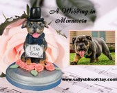 Custom Pet Dog Cat Wedding Cake Topper on 5 inch wooden base with ONE figure OOAK Handsculpted by Sallys Bits of Clay
