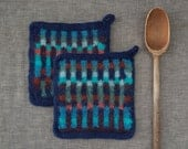 Set of Two Felted Potholders Wool Hot Pads  Felt Trivet  Functional Art  Modern Kitchen  Hand Made in Blues Turquoises Greens Cinnamon Chili
