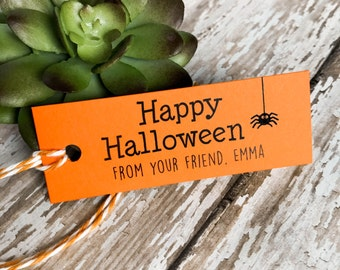 Happy Halloween Tags, Custom Tags, Personalized Tags, Wedding Tags, Gift Tags, Halloween Tags - Set of 16