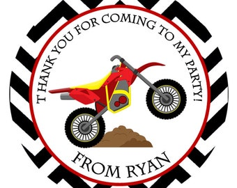 Motorcycle Personalized Stickers, Moutain Bike, Birthday Stickers, Address Labels, Party Favor, Hang Tags - Set of 12