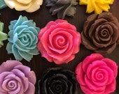 Flower Cabochon Lucite Destash - 25 pieces - Extra Large Flowers